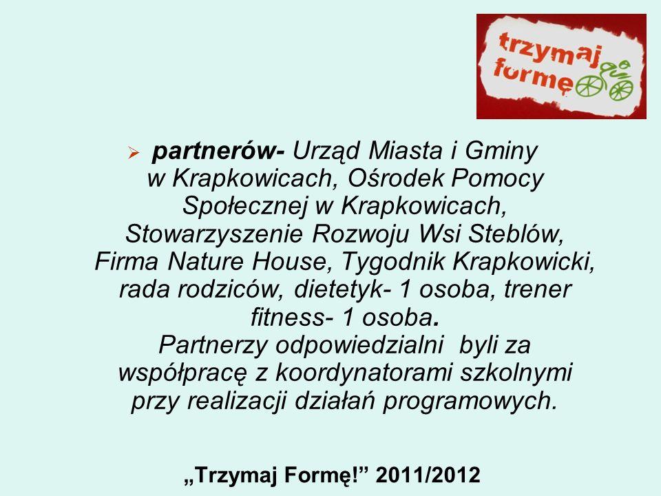 Trzymaj Formę! 2011/2012 partnerów- Urząd Miasta i Gminy w Krapkowicach, Ośrodek Pomocy Społecznej w Krapkowicach, Stowarzyszenie Rozwoju Wsi Steblów,