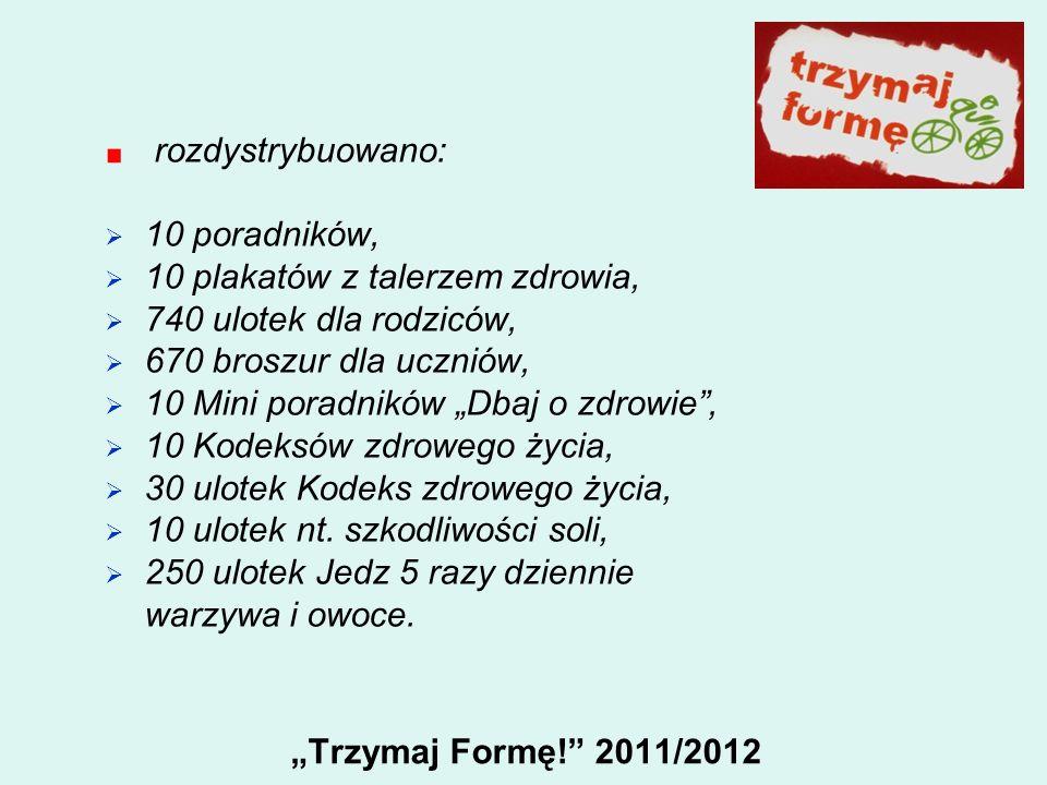 Trzymaj Formę! 2011/2012 rozdystrybuowano: 10 poradników, 10 plakatów z talerzem zdrowia, 740 ulotek dla rodziców, 670 broszur dla uczniów, 10 Mini po