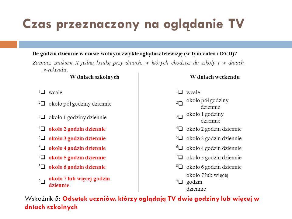Czas przeznaczony na oglądanie TV Ile godzin dziennie w czasie wolnym zwykle oglądasz telewizję (w tym video i DVD)? Zaznacz znakiem X jedną kratkę pr
