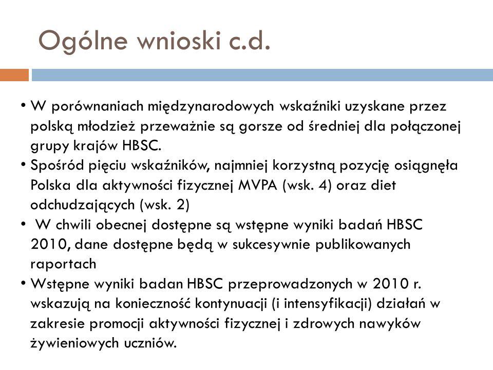 Ogólne wnioski c.d. W porównaniach międzynarodowych wskaźniki uzyskane przez polską młodzież przeważnie są gorsze od średniej dla połączonej grupy kra