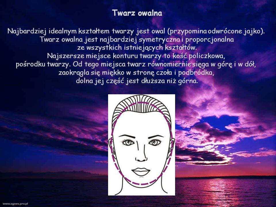 Twarz owalna Najbardziej idealnym kształtem twarzy jest owal (przypomina odwrócone jajko). Twarz owalna jest najbardziej symetryczna i proporcjonalna