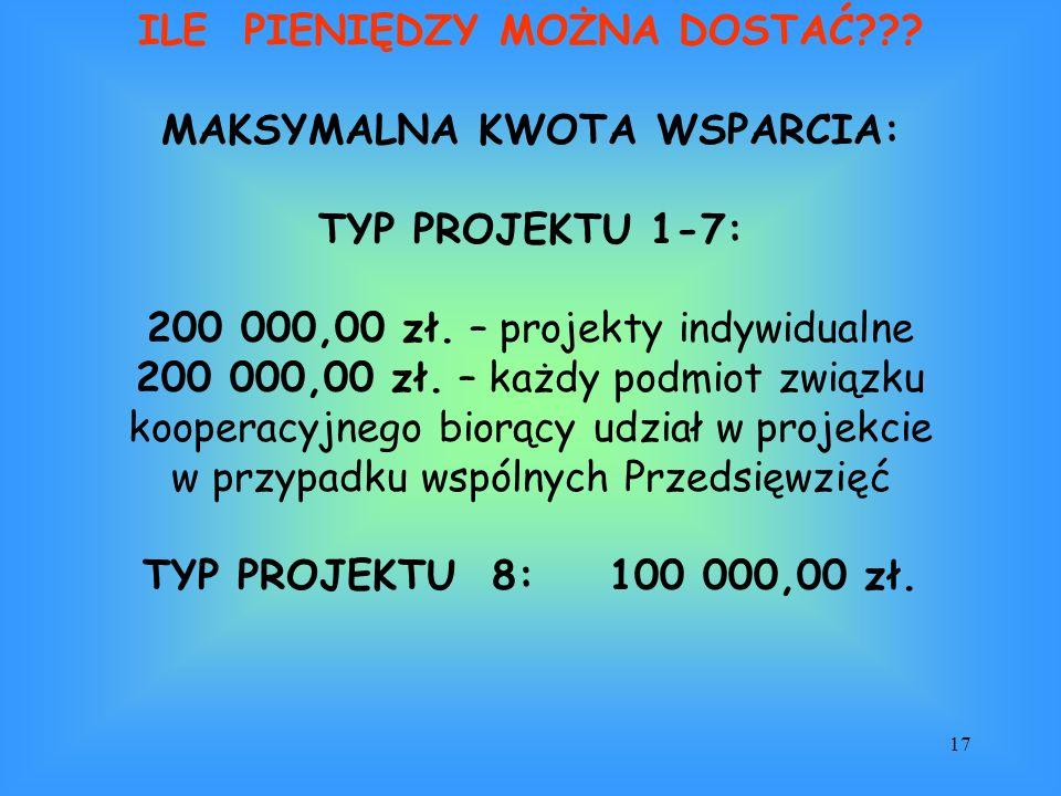 17 ILE PIENIĘDZY MOŻNA DOSTAĆ??? MAKSYMALNA KWOTA WSPARCIA: TYP PROJEKTU 1-7: 200 000,00 zł. – projekty indywidualne 200 000,00 zł. – każdy podmiot zw