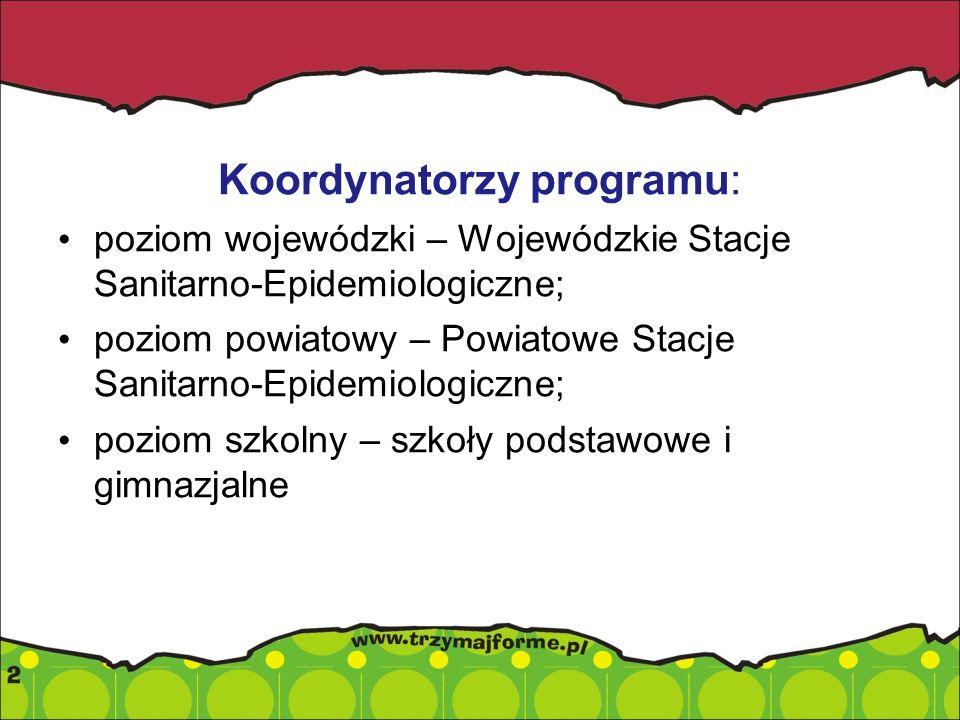Koordynatorzy programu: poziom wojewódzki – Wojewódzkie Stacje Sanitarno-Epidemiologiczne; poziom powiatowy – Powiatowe Stacje Sanitarno-Epidemiologic