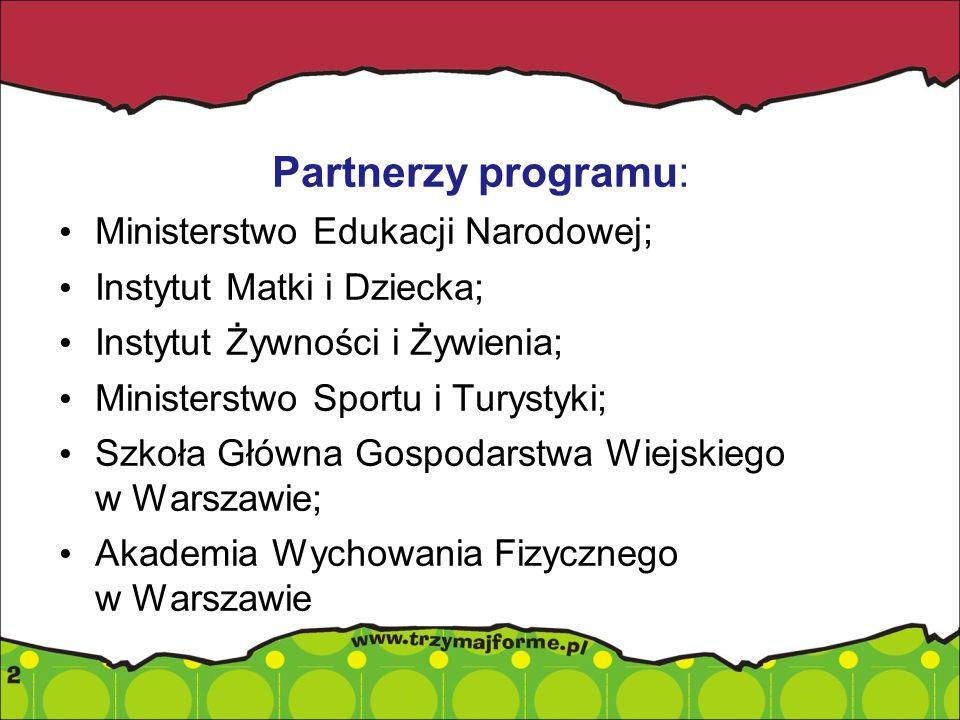 Partnerzy programu: Ministerstwo Edukacji Narodowej; Instytut Matki i Dziecka; Instytut Żywności i Żywienia; Ministerstwo Sportu i Turystyki; Szkoła G