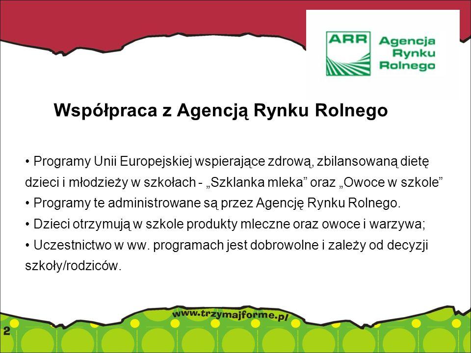 Współpraca z Agencją Rynku Rolnego Programy Unii Europejskiej wspierające zdrową, zbilansowaną dietę dzieci i młodzieży w szkołach - Szklanka mleka or