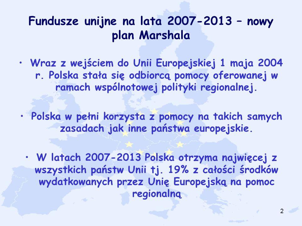 2 Fundusze unijne na lata 2007-2013 – nowy plan Marshala Wraz z wejściem do Unii Europejskiej 1 maja 2004 r. Polska stała się odbiorcą pomocy oferowan