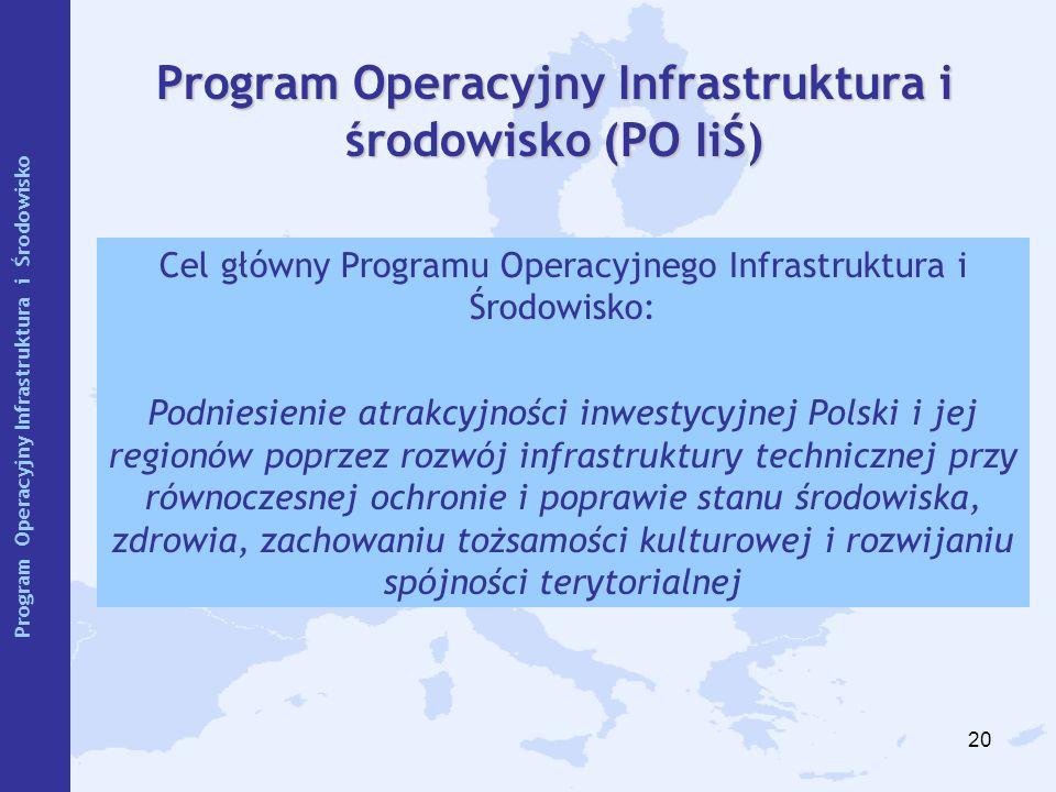 20 Program Operacyjny Infrastruktura i środowisko (PO IiŚ) Cel główny Programu Operacyjnego Infrastruktura i Środowisko: Podniesienie atrakcyjności in