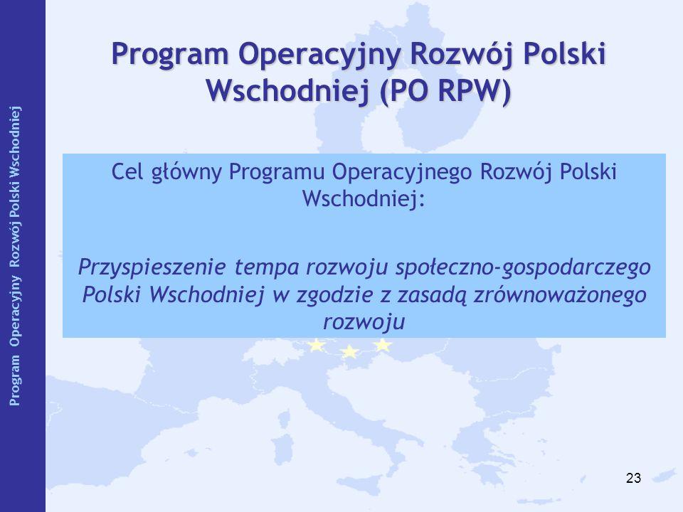 23 Program Operacyjny Rozwój Polski Wschodniej (PO RPW) Cel główny Programu Operacyjnego Rozwój Polski Wschodniej: Przyspieszenie tempa rozwoju społec