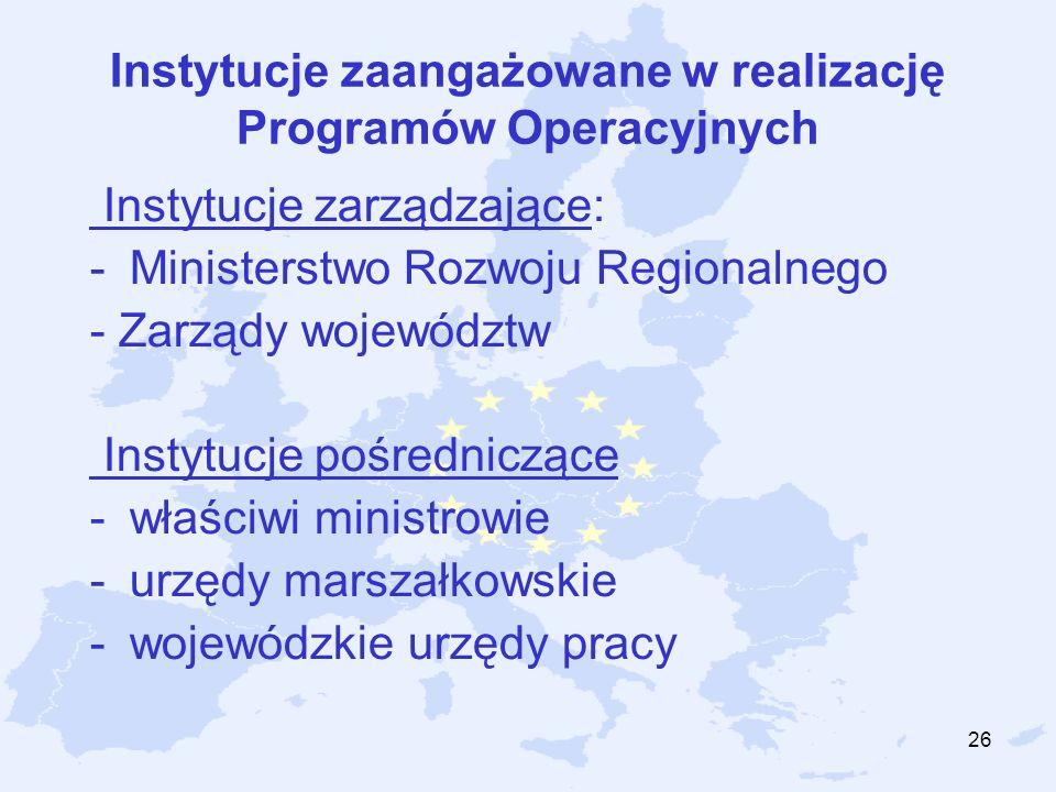 26 Instytucje zaangażowane w realizację Programów Operacyjnych Instytucje zarządzające: -Ministerstwo Rozwoju Regionalnego - Zarządy województw Instyt
