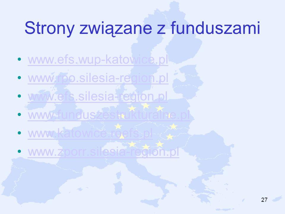 27 Strony związane z funduszami www.efs.wup-katowice.pl www.rpo.silesia-region.pl www.efs.silesia-region.pl www.funduszestrukturalne.pl www.katowice.r