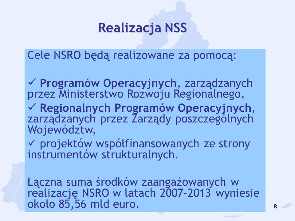 8 Cele NSRO będą realizowane za pomocą: Programów Operacyjnych, zarządzanych przez Ministerstwo Rozwoju Regionalnego, Regionalnych Programów Operacyjn
