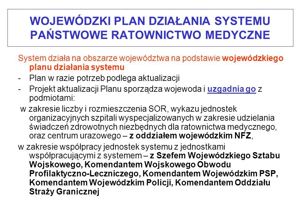 WOJEWÓDZKI PLAN DZIAŁANIA SYSTEMU PAŃSTWOWE RATOWNICTWO MEDYCZNE -Projekt aktualizacji Planu uzgodniony z podmiotami, wojewoda przekazuje do zaopiniowania – 18 stycznia 2011 r.