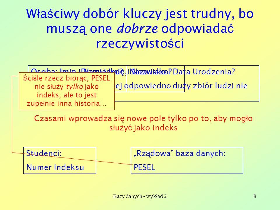 Bazy danych - wykład 28 W ł a ś ciwy dobór kluczy jest trudny, bo musz ą one dobrze odpowiada ć rzeczywisto ś ci Osoba: Imi ę i Nazwisko? Nie wystarcz