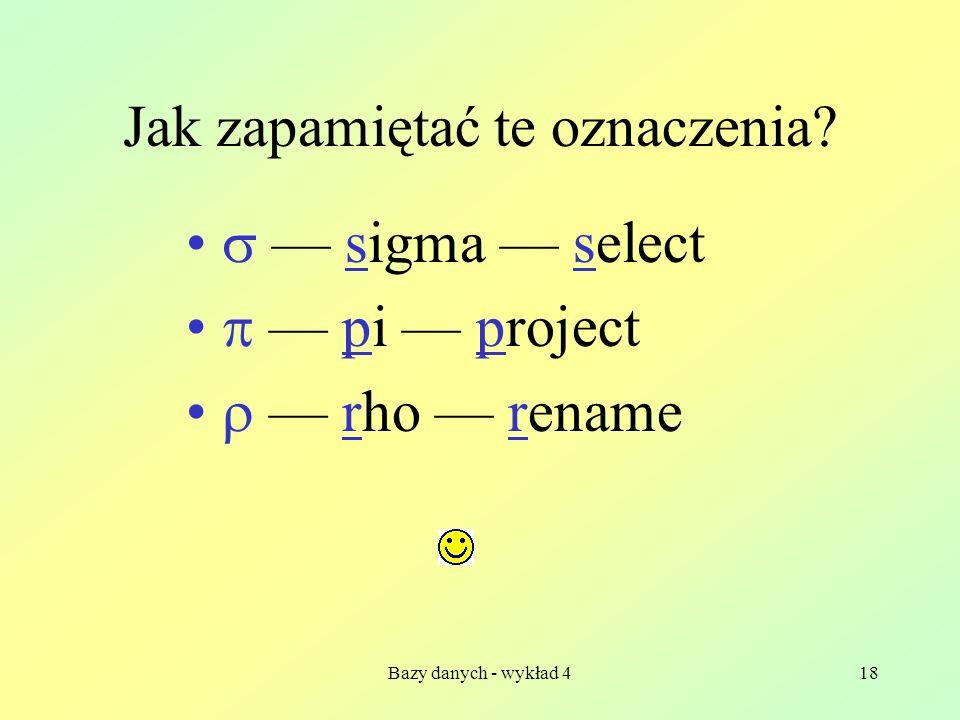 Bazy danych - wykład 418 Jak zapamiętać te oznaczenia? sigma select pi project rho rename