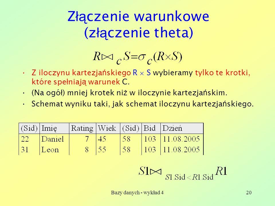 Bazy danych - wykład 420 Z łą czenie warunkowe (z łą czenie theta) Z iloczynu kartezja ń skiego R S wybieramy tylko te krotki, które spe ł niaj ą waru