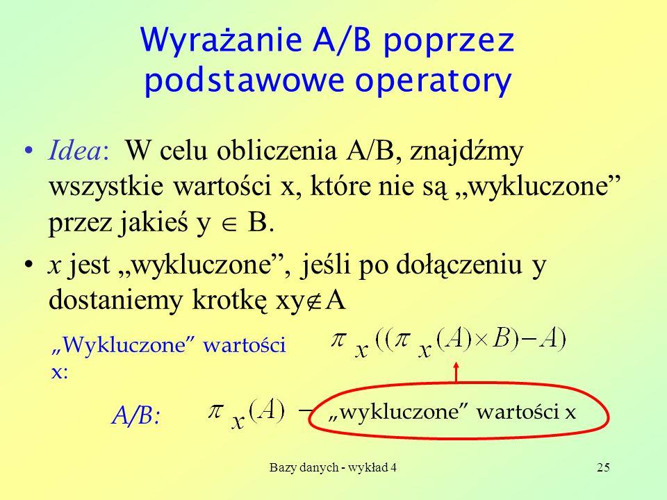 Bazy danych - wykład 425 Wyra ż anie A/B poprzez podstawowe operatory Idea: W celu obliczenia A/B, znajdźmy wszystkie wartości x, które nie są wyklucz