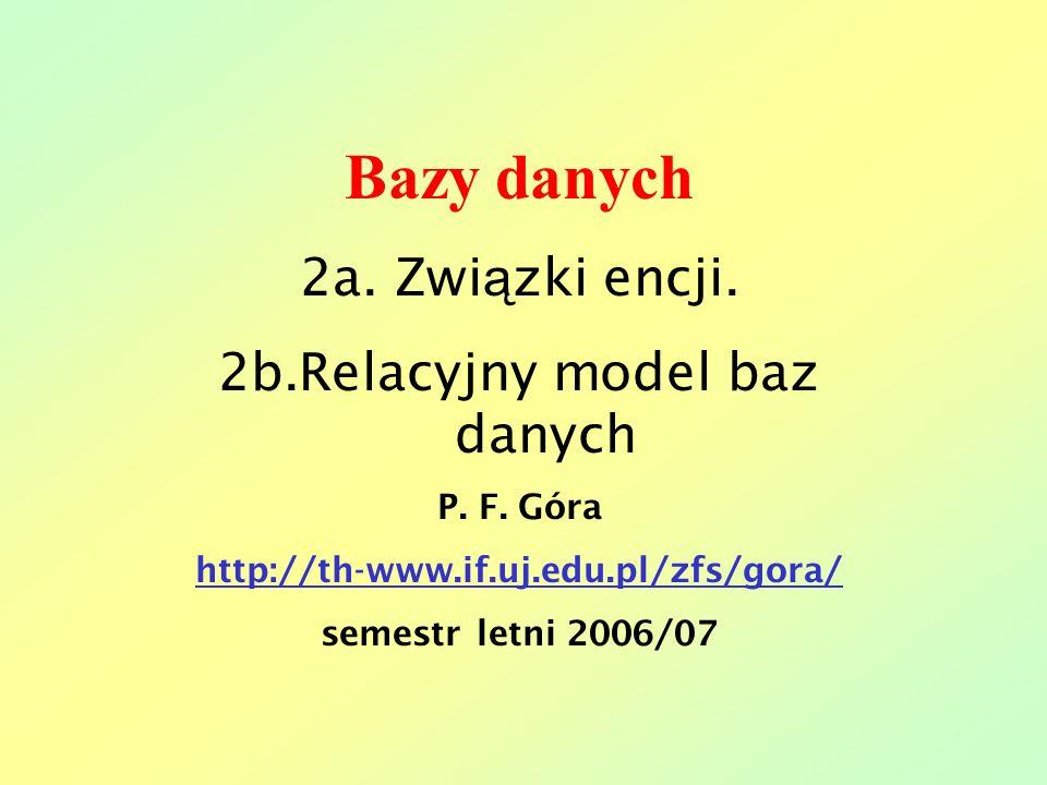 Bazy danych 2a. Zwi ą zki encji. 2b.Relacyjny model baz danych P. F. Góra http://th-www.if.uj.edu.pl/zfs/gora/ semestr letni 2006/07