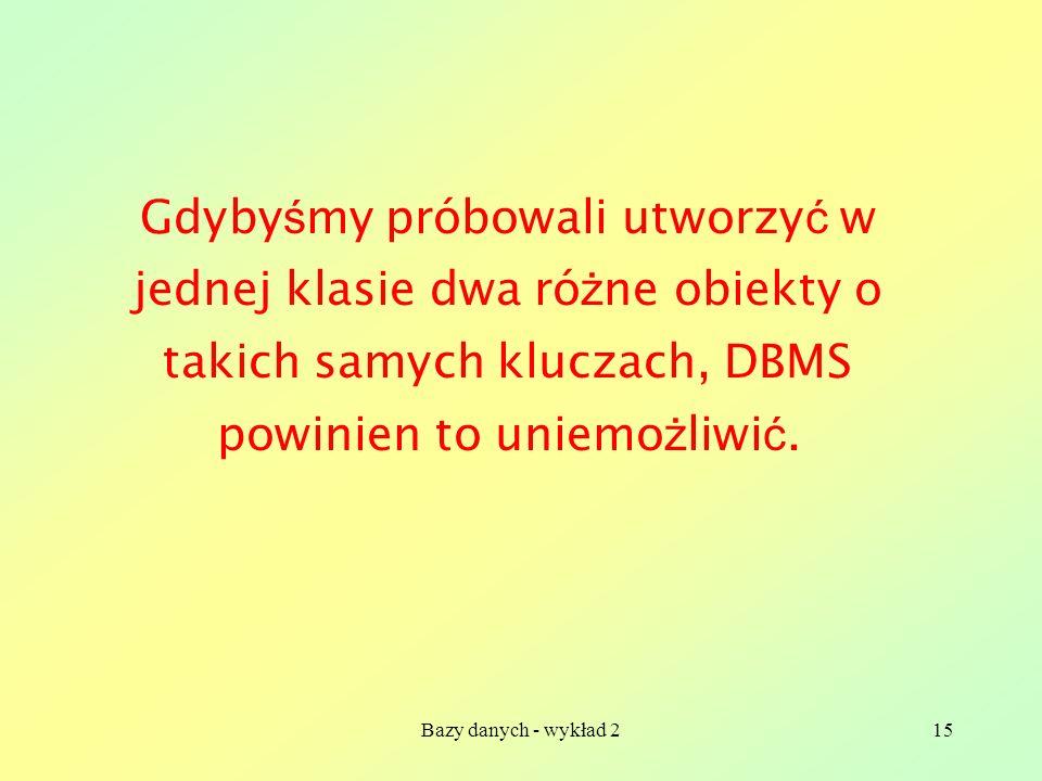 Bazy danych - wykład 215 Gdyby ś my próbowali utworzy ć w jednej klasie dwa ró ż ne obiekty o takich samych kluczach, DBMS powinien to uniemo ż liwi ć