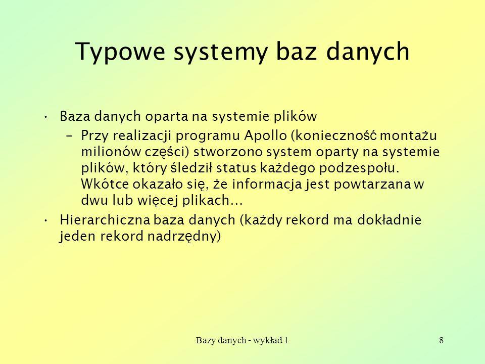 Bazy danych - wykład 18 Typowe systemy baz danych Baza danych oparta na systemie plików –Przy realizacji programu Apollo (konieczno ść monta ż u milio