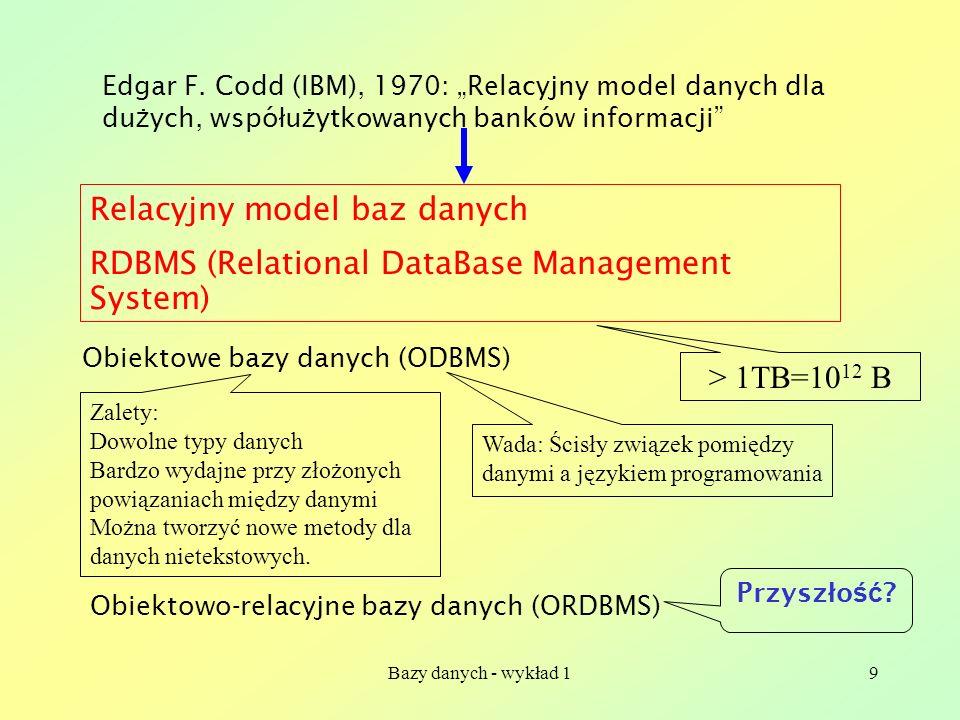 Bazy danych - wykład 19 Edgar F. Codd (IBM), 1970: Relacyjny model danych dla du ż ych, wspó ł u ż ytkowanych banków informacji Relacyjny model baz da