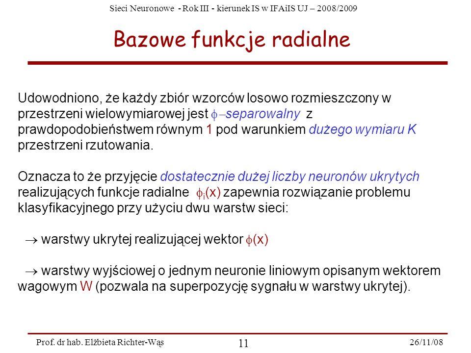 Sieci Neuronowe - Rok III - kierunek IS w IFAiIS UJ – 2008/2009 26/11/08 11 Prof. dr hab. Elżbieta Richter-Wąs Bazowe funkcje radialne Udowodniono, że