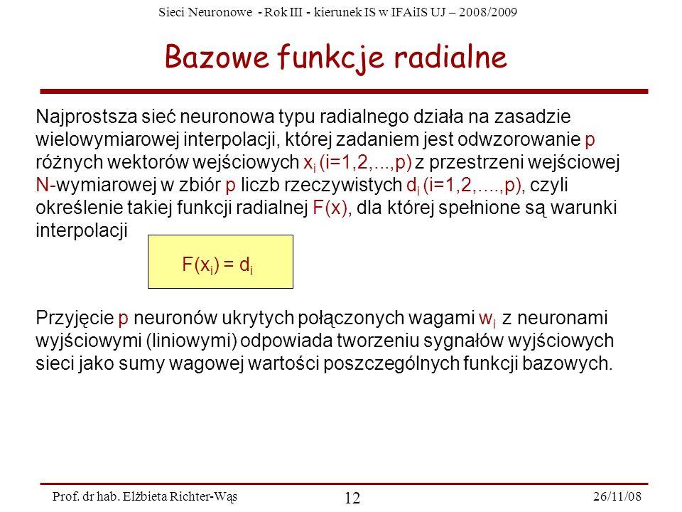 Sieci Neuronowe - Rok III - kierunek IS w IFAiIS UJ – 2008/2009 26/11/08 12 Prof. dr hab. Elżbieta Richter-Wąs Bazowe funkcje radialne Najprostsza sie