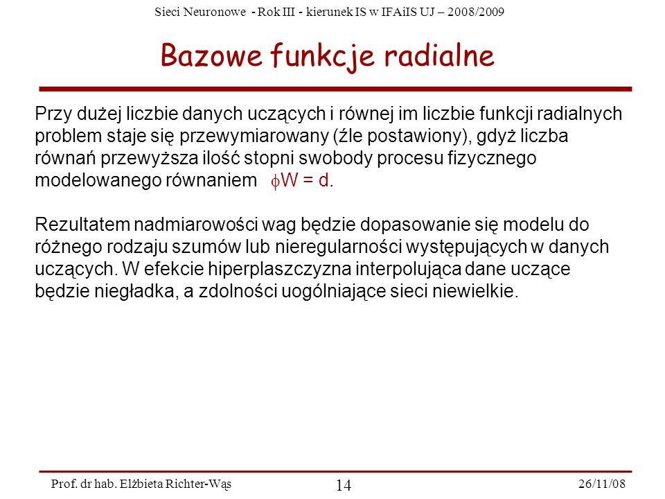 Sieci Neuronowe - Rok III - kierunek IS w IFAiIS UJ – 2008/2009 26/11/08 14 Prof. dr hab. Elżbieta Richter-Wąs Bazowe funkcje radialne Przy dużej licz