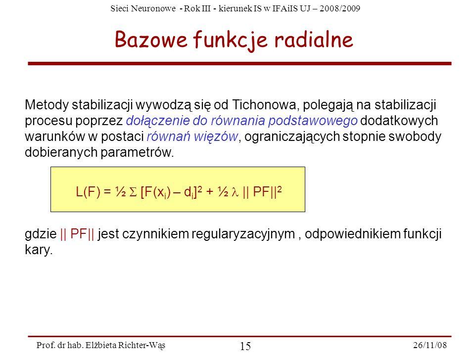 Sieci Neuronowe - Rok III - kierunek IS w IFAiIS UJ – 2008/2009 26/11/08 15 Prof. dr hab. Elżbieta Richter-Wąs Bazowe funkcje radialne Metody stabiliz