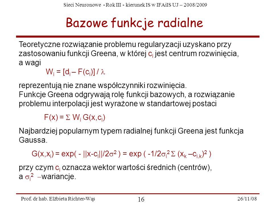 Sieci Neuronowe - Rok III - kierunek IS w IFAiIS UJ – 2008/2009 26/11/08 16 Prof. dr hab. Elżbieta Richter-Wąs Bazowe funkcje radialne Teoretyczne roz