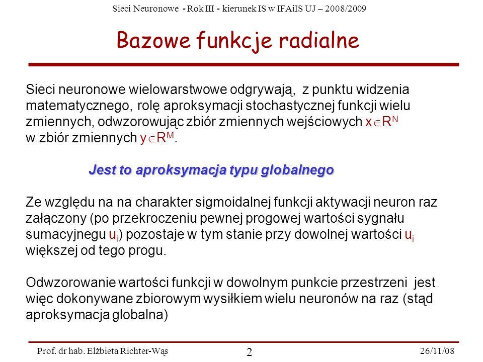 Sieci Neuronowe - Rok III - kierunek IS w IFAiIS UJ – 2008/2009 26/11/08 2 Prof. dr hab. Elżbieta Richter-Wąs Bazowe funkcje radialne Sieci neuronowe