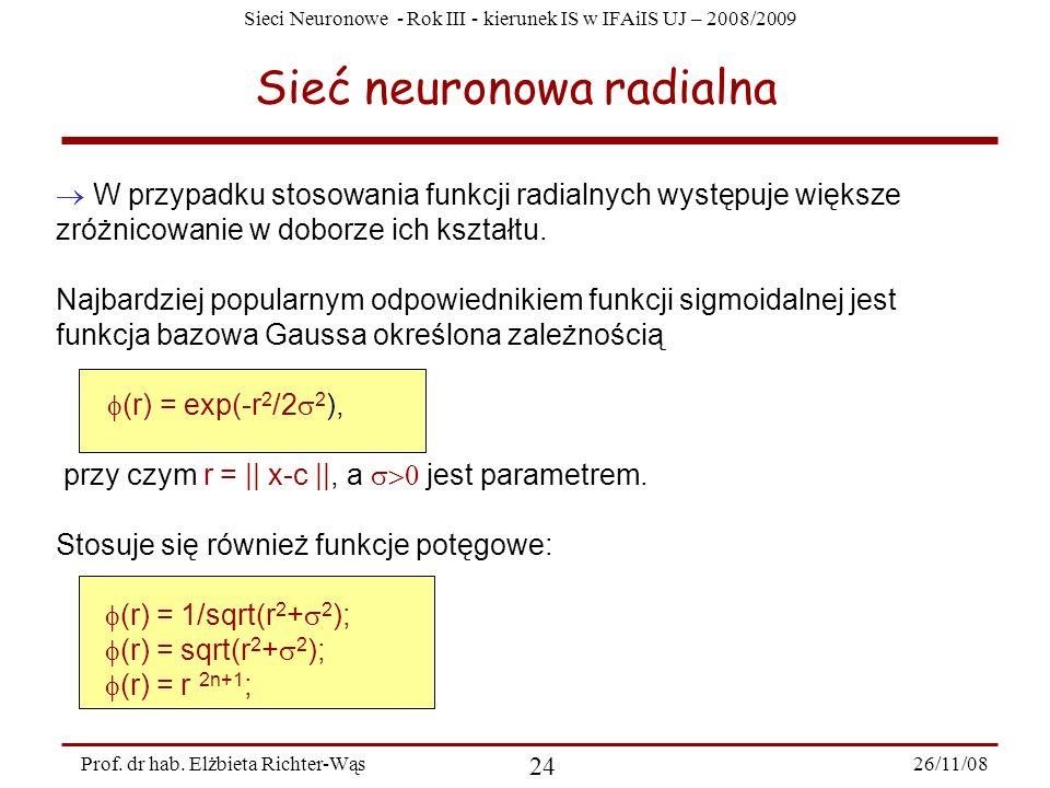 Sieci Neuronowe - Rok III - kierunek IS w IFAiIS UJ – 2008/2009 26/11/08 24 Prof. dr hab. Elżbieta Richter-Wąs Sieć neuronowa radialna W przypadku sto