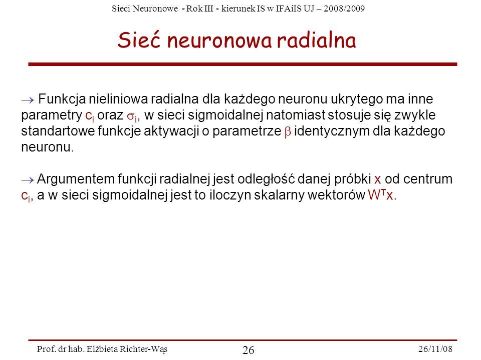 Sieci Neuronowe - Rok III - kierunek IS w IFAiIS UJ – 2008/2009 26/11/08 26 Prof. dr hab. Elżbieta Richter-Wąs Sieć neuronowa radialna Funkcja nielini