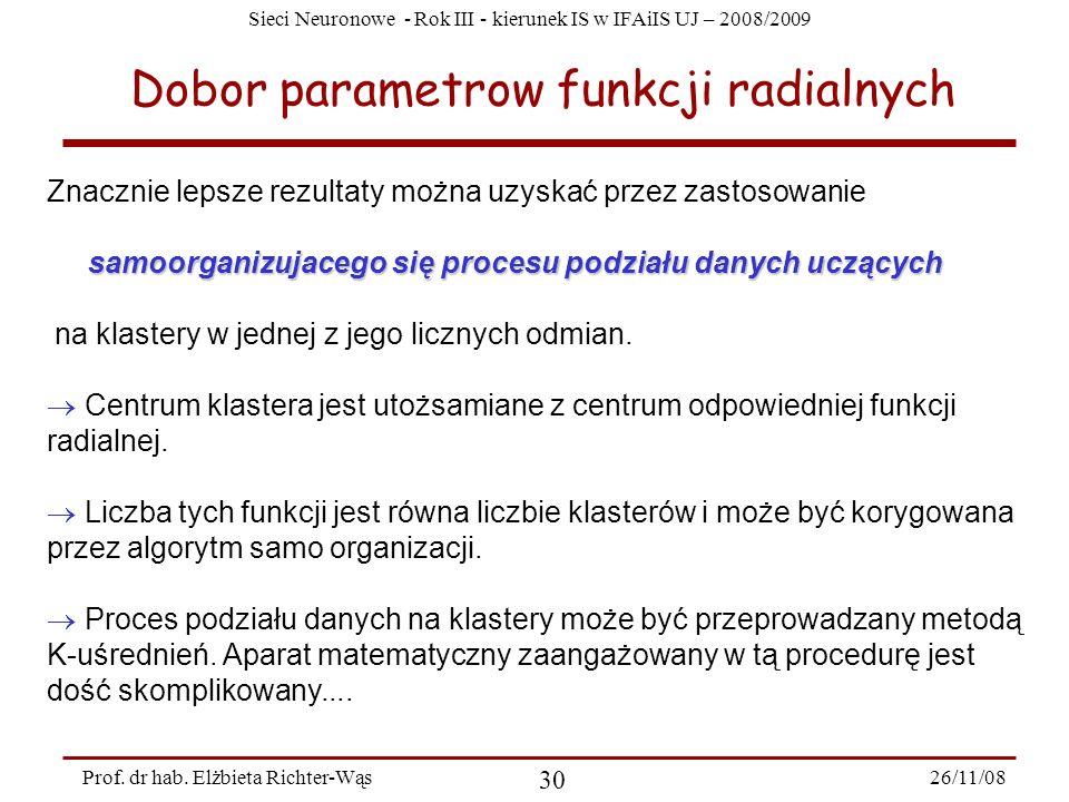 Sieci Neuronowe - Rok III - kierunek IS w IFAiIS UJ – 2008/2009 26/11/08 30 Prof. dr hab. Elżbieta Richter-Wąs Dobor parametrow funkcji radialnych Zna