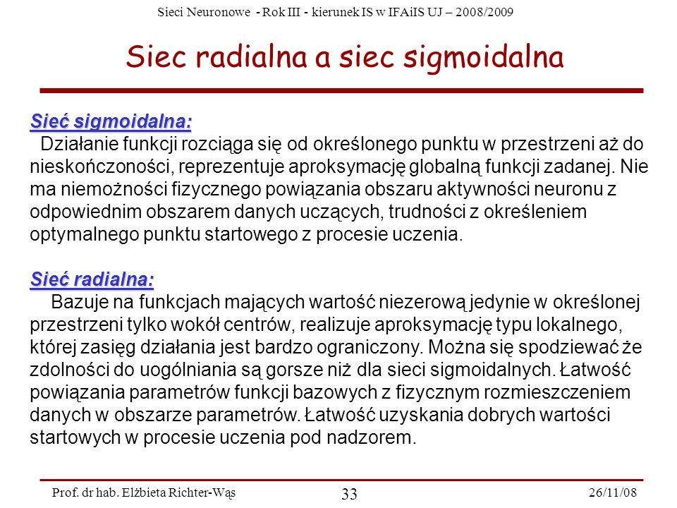 Sieci Neuronowe - Rok III - kierunek IS w IFAiIS UJ – 2008/2009 26/11/08 33 Prof. dr hab. Elżbieta Richter-Wąs Siec radialna a siec sigmoidalna Sieć s