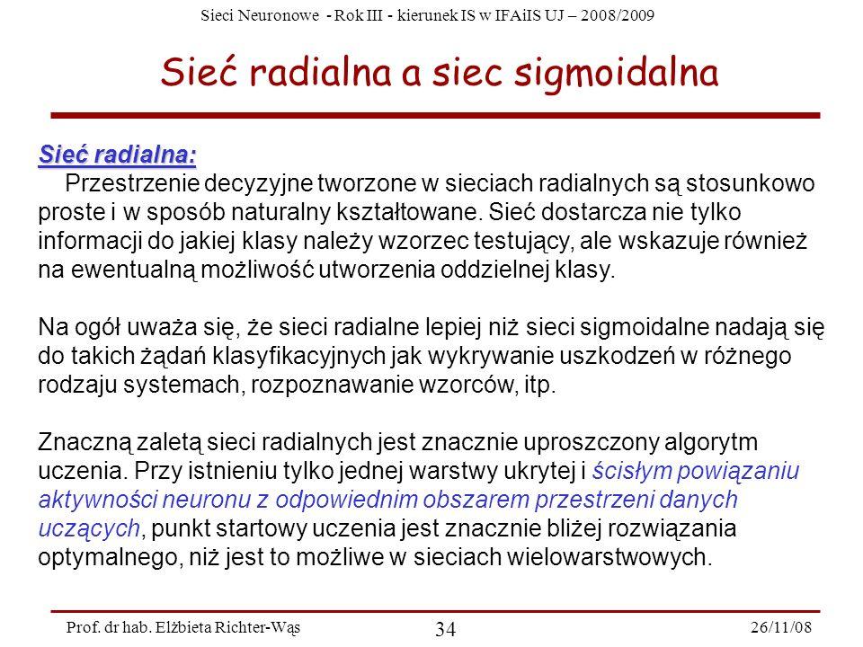 Sieci Neuronowe - Rok III - kierunek IS w IFAiIS UJ – 2008/2009 26/11/08 34 Prof. dr hab. Elżbieta Richter-Wąs Sieć radialna a siec sigmoidalna Sieć r