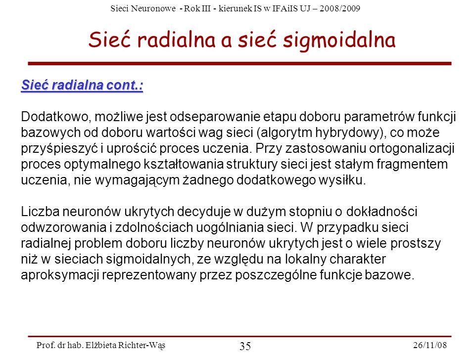 Sieci Neuronowe - Rok III - kierunek IS w IFAiIS UJ – 2008/2009 26/11/08 35 Prof. dr hab. Elżbieta Richter-Wąs Sieć radialna a sieć sigmoidalna Sieć r