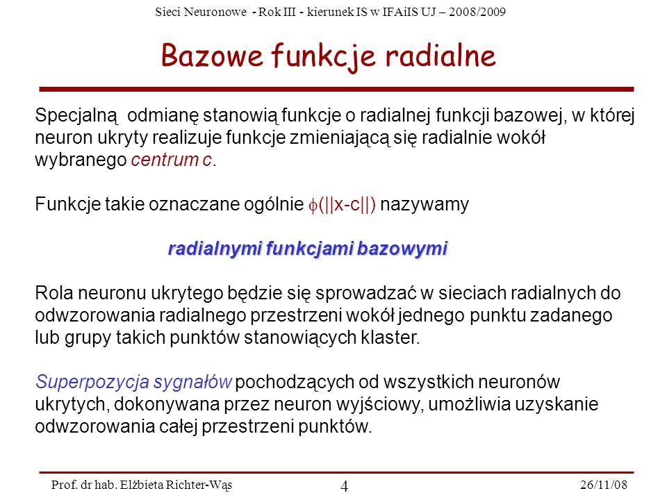 Sieci Neuronowe - Rok III - kierunek IS w IFAiIS UJ – 2008/2009 26/11/08 4 Prof. dr hab. Elżbieta Richter-Wąs Bazowe funkcje radialne Specjalną odmian