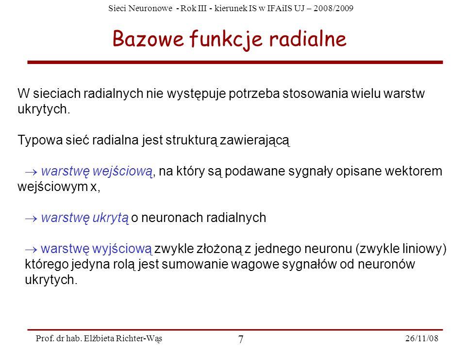 Sieci Neuronowe - Rok III - kierunek IS w IFAiIS UJ – 2008/2009 26/11/08 7 Prof. dr hab. Elżbieta Richter-Wąs Bazowe funkcje radialne W sieciach radia