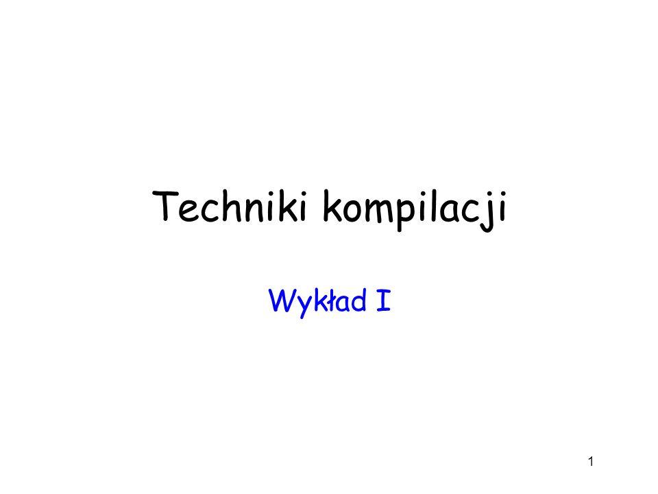 Techniki kompilacji Wykład I 1
