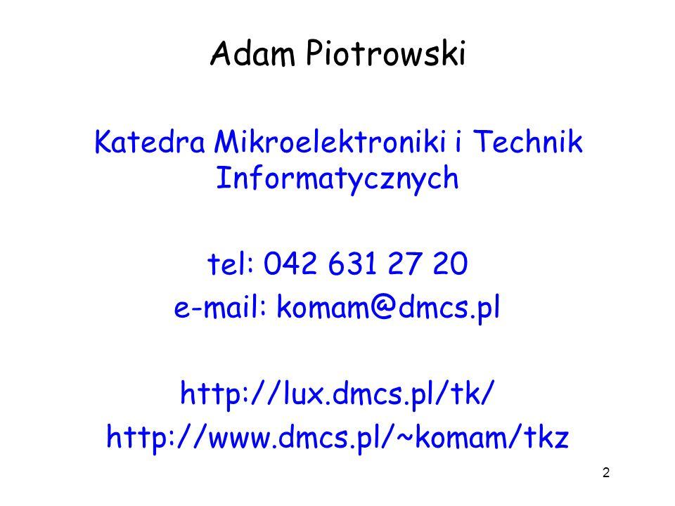 Adam Piotrowski Katedra Mikroelektroniki i Technik Informatycznych tel: 042 631 27 20 e-mail: komam@dmcs.pl http://lux.dmcs.pl/tk/ http://www.dmcs.pl/