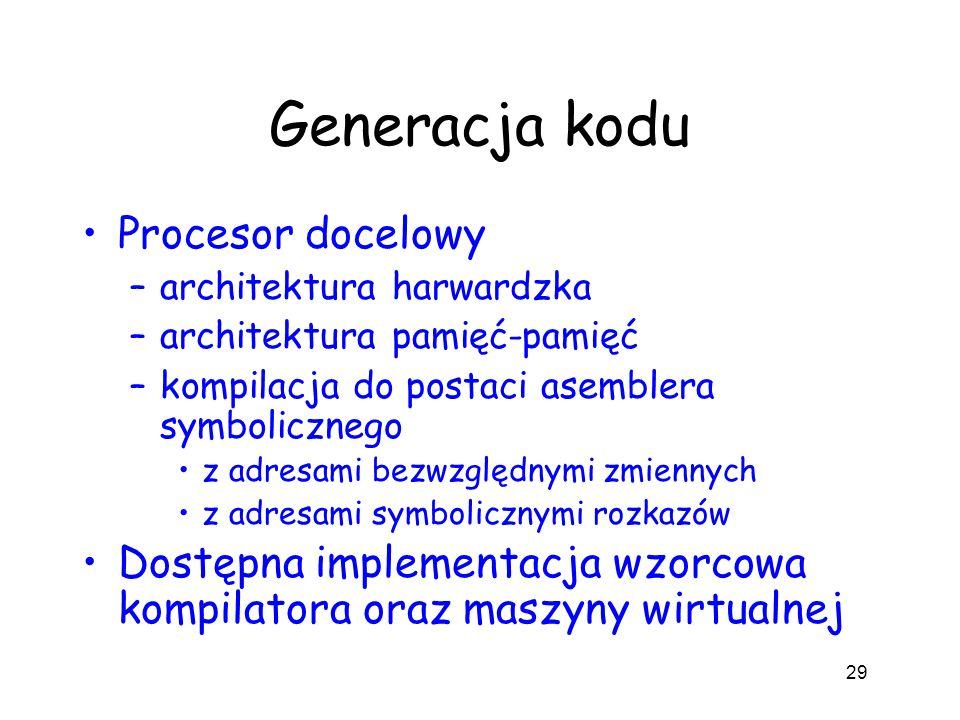 Generacja kodu Procesor docelowy –architektura harwardzka –architektura pamięć-pamięć –kompilacja do postaci asemblera symbolicznego z adresami bezwzg