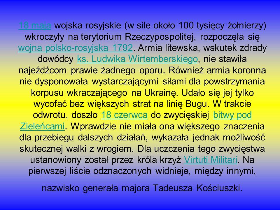 18 maja18 maja wojska rosyjskie (w sile około 100 tysięcy żołnierzy) wkroczyły na terytorium Rzeczypospolitej, rozpoczęła się wojna polsko-rosyjska 17