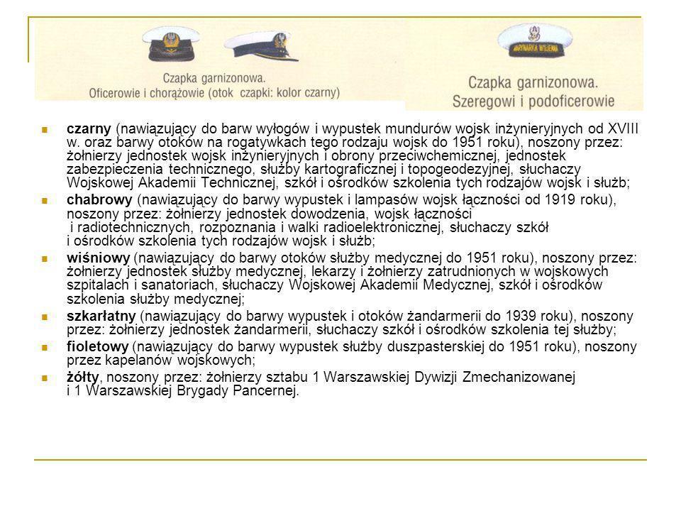 czarny (nawiązujący do barw wyłogów i wypustek mundurów wojsk inżynieryjnych od XVIII w. oraz barwy otoków na rogatywkach tego rodzaju wojsk do 1951 r