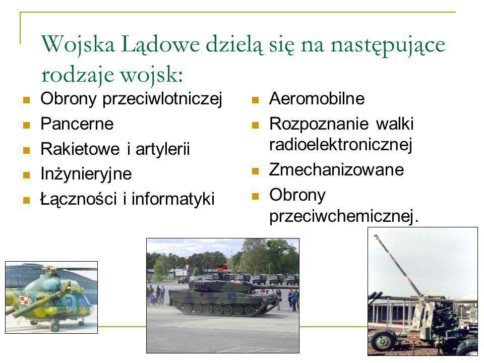 Wojska Lądowe dzielą się na następujące rodzaje wojsk: Obrony przeciwlotniczej Pancerne Rakietowe i artylerii Inżynieryjne Łączności i informatyki Aer
