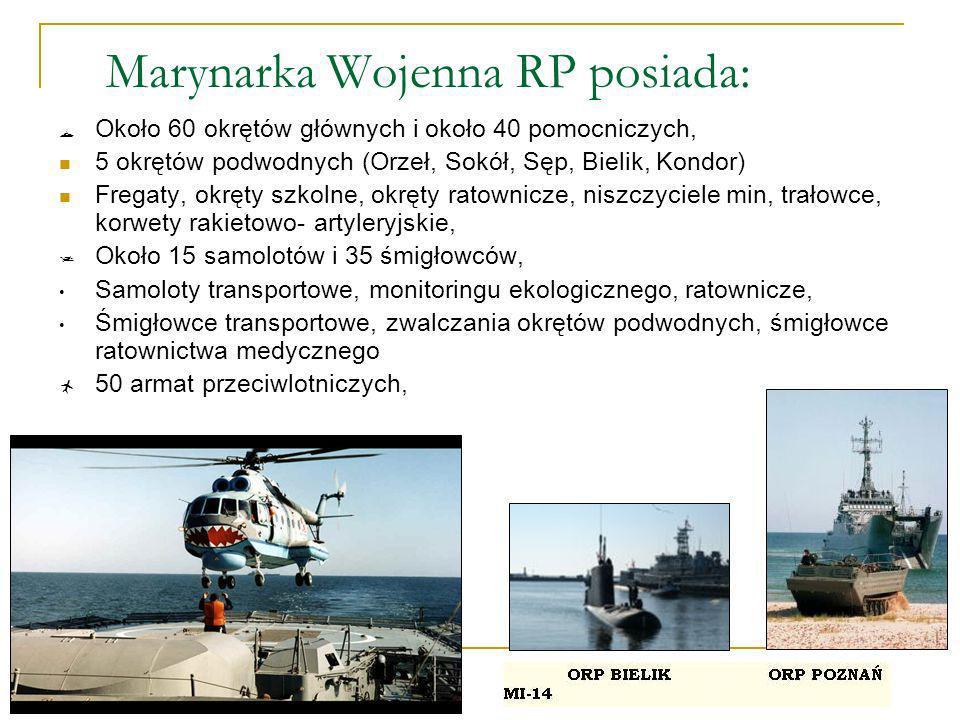 Marynarka Wojenna RP posiada: Około 60 okrętów głównych i około 40 pomocniczych, 5 okrętów podwodnych (Orzeł, Sokół, Sęp, Bielik, Kondor) Fregaty, okr