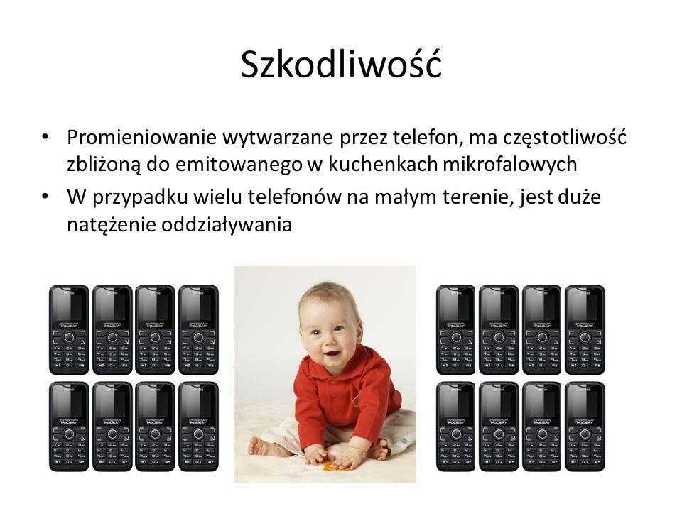 Szkodliwość Promieniowanie wytwarzane przez telefon, ma częstotliwość zbliżoną do emitowanego w kuchenkach mikrofalowych W przypadku wielu telefonów n
