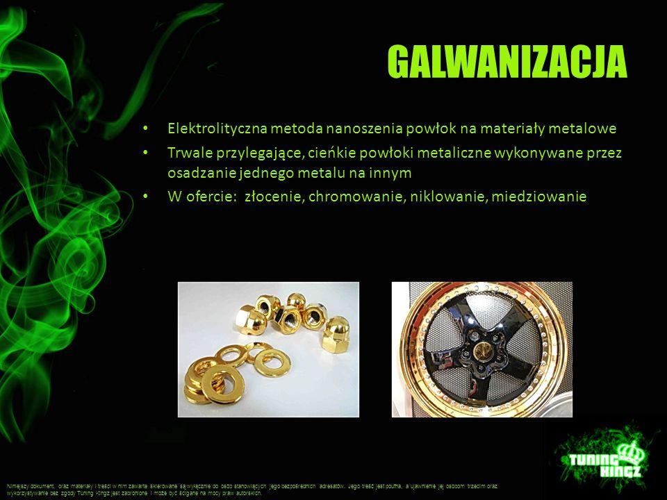 GALWANIZACJA Elektrolityczna metoda nanoszenia powłok na materiały metalowe Trwale przylegające, cieńkie powłoki metaliczne wykonywane przez osadzanie jednego metalu na innym W ofercie: złocenie, chromowanie, niklowanie, miedziowanie Niniejszy dokument, oraz materiały i treści w nim zawarte skierowane są wyłącznie do osób stanowiących jego bezpośrednich adresatów.