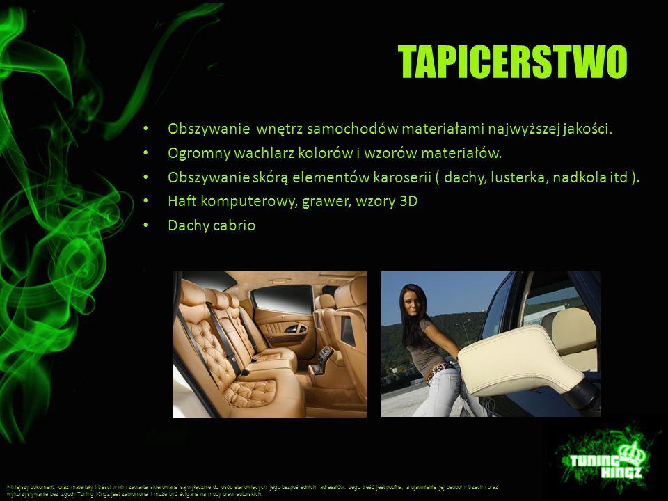 TAPICERSTWO Obszywanie wnętrz samochodów materiałami najwyższej jakości. Ogromny wachlarz kolorów i wzorów materiałów. Obszywanie skórą elementów karo