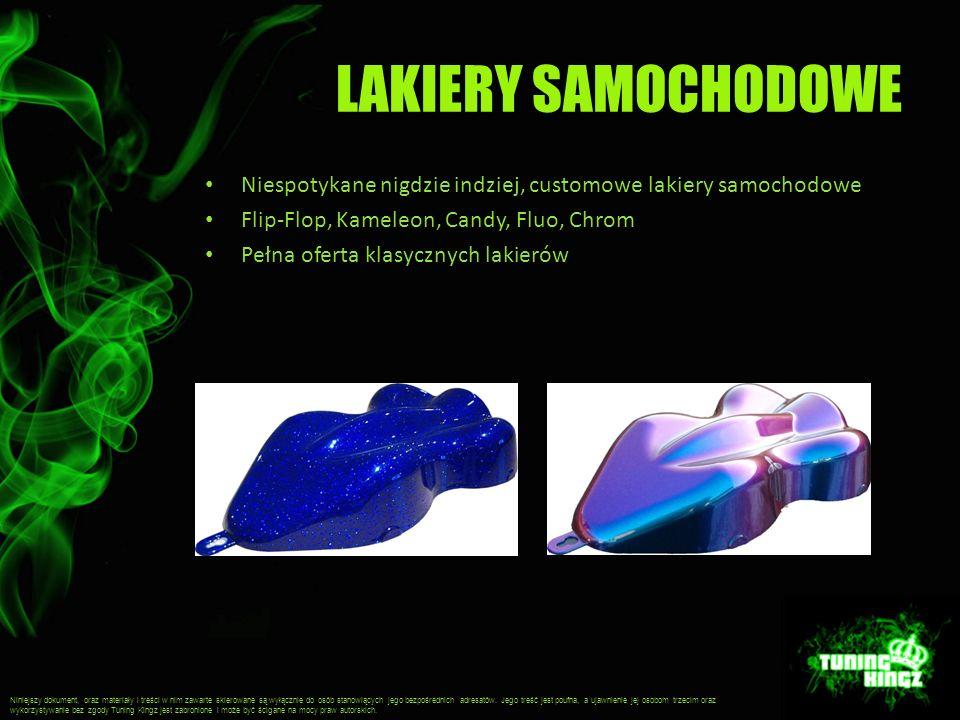 LAKIERY SAMOCHODOWE Niespotykane nigdzie indziej, customowe lakiery samochodowe Flip-Flop, Kameleon, Candy, Fluo, Chrom Pełna oferta klasycznych lakie