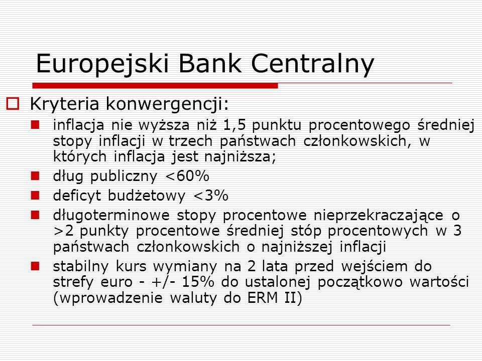 Europejski Bank Centralny Kryteria konwergencji: inflacja nie wyższa niż 1,5 punktu procentowego średniej stopy inflacji w trzech państwach członkowsk